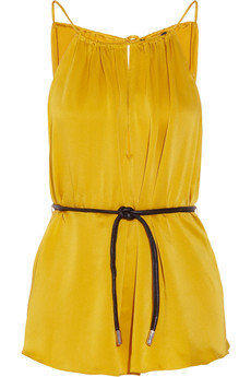 Elizabeth and James Heidi belted silk-satin top - 50% Off Now at THE OUTNET