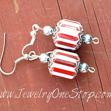 red white and blue earrings, usa earrings, Fourth of July