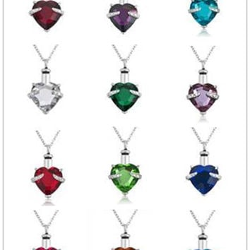Birthstone memory glass cremation urns jewellery stainless steel necklace assessary silver ashes pendant love jewelry