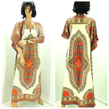 Vintage 60s 70 Indie dashiki, size S / M, boho hippie tribal long caftan, 1970s 1960s cotton tunic maxi dress, SunnyBohoVintage