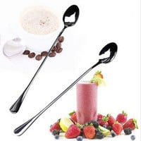 High Quality Ice Cream Tea Coffee Handled Long Handle Stainless Steel Spoons Flatware AE02606