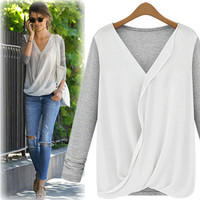 Long-Sleeve Chiffon Wrapped Shirt