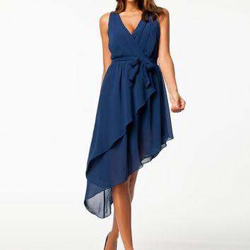 Blue A-Line Asymmetrical Chiffon Dress