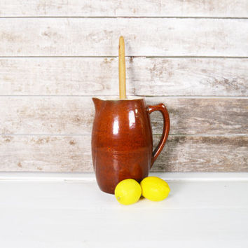 Vintage Pitcher, Stoneware Pitcher, Rustic Brown  Pottery, Salt Glaze Pitcher, Brown Pottery Pitcher, Summer Serving Pitcher