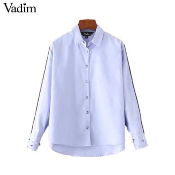 Vadim women elegant pearls beading shirts long sleeve turn down collar blouse office lady work wear casual tops blusas LT2265