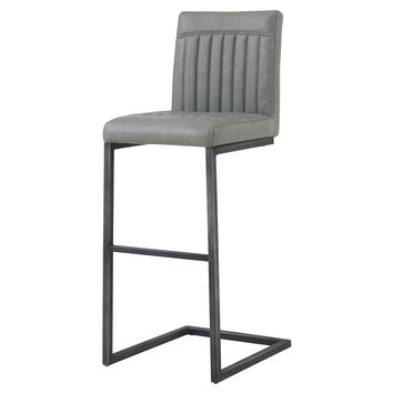Jago Bar Stool, Antique Graphite Gray Leather Set of 2