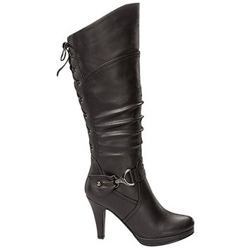 Women Boots Top Moda Womens  Knee High Round Toe Lace-Up Slouched High Heel Boots