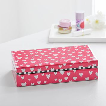 MayBaby Small Jewelry Box, Pink Tossed Hearts
