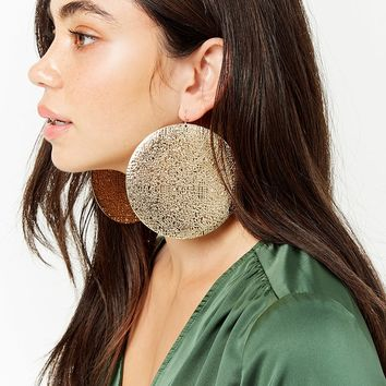 Oversized Drop Disc Earrings
