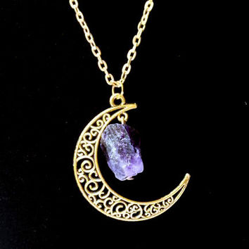 Sailor Moon Necklace ~Sun And Moon ~60cm Natural Stone Crystal Amethyst Tourmaline Necklace  4