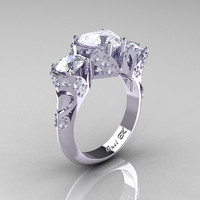 Scandinavian 14K White Gold 2.0 Ct Heart White Sapphire Diamond Three Stone Designer Engagement Ring R434M-14KWGDWS