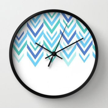 Blue Wall Clock - Blue and White Arrow Art - Made to Order