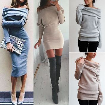LNRRABC Fashion Cotton Women Winter Long Sleeve Off Shoulder Sweater Slim Bodycon Mini Dress Women's Clothing & Accessories