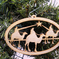 Three Wisemen Christmas ornament laser cut birch plywood