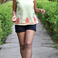 Mint green sleeveless womens blouse-festival top-Indian embroidery- summer blouse- cotton blouse-made to order-gift for women