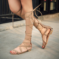 Women Flat Gladiator Knee High Sandals Faux Suede Woman Summer Casual Shoes with Back Zipper 2017 Black Apricot Brown Color