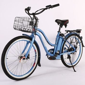 X-Treme Malibu Elite Max 36 Volt Electric Beach Cruiser Bicycle Bike Baby Blue