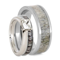 Deer Antler Bridal Set With Matching Men's Antler Wedding Band, Moissanite Engagement Ring With Antler Wedding Band, His And Hers Ring Set