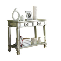 """Brushed Silver / Mirrored 38""""L Sofa Console Table"""