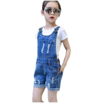 Girls Ripped Shorts Denim Overalls