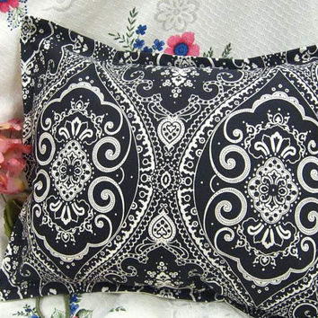 "SPECTATOR PAISLEY - Pair Custom Made Decorative Boudoir Pillow Shams  - Ralph Lauren Fabric  - 12"" x 16"" each Stripe Back"