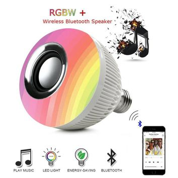 Smart Wireless Bluetooth Speaker LED RGB Music Bulb Dimmable E27 12W RGB Music Playing Light Lamp with Remote Control