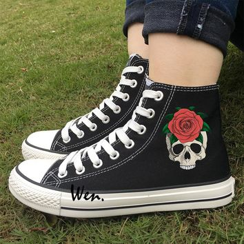 Skateboarding Shoes for Men Women Design Skull Flower Red Rose Black White Canvas