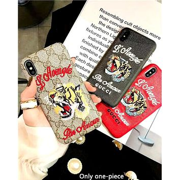 GUCCI 2019 new personality embroidery tiger head logo iPhone8plus protective case