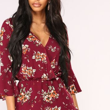 Sun Comes Out Floral Romper - Burgundy