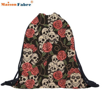 New Fashion Women Backpack Female Bohemian Boho Chic Aztec Folk Tribal Ethnic Fabric String Drawstring Backpack Bag Feb 27