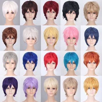 Coshome Naruto One Piece Fairy Tail Bleach Yato Halloween Chris Cosplay Short Wig For Men Women Black Brown Yellow Blue Wigs