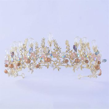 Bridal Wedding Tiaras and Crowns Crystal Flower Gold Color