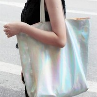 Cyber Hologram Metallic Silver Tote Shopping Bag from LittleByLittle