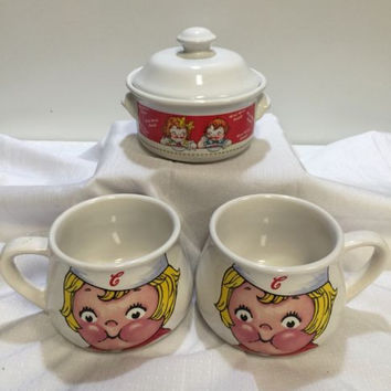1998 Campbell Soup Company Houston Harvest Soup Bowl with Lid and 2 Soup Mugs