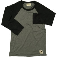 Heather Black/Gray Baseball Tee