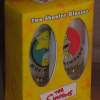 Simpsons Two Shooter Glasses Moe and Homer