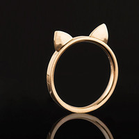 Rose Gold Cat Ears Ring [Stainless Steel] from WANDERLUSTINY