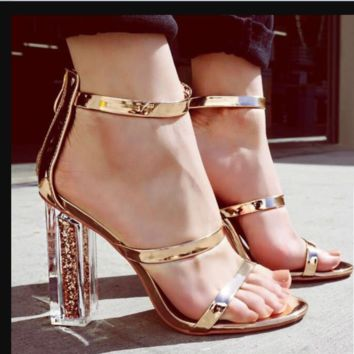 Summer hot style hot sell joker thick heel peep-toe round head sandals