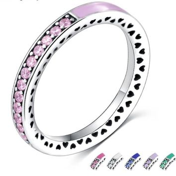 Sale 925 SILVER Mystic Rainbow Color enamel Rings For Women Crystal from Swarovski Wedding Party Engagement Love Ring