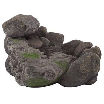 Outdoor Water Fountain With Stone Waterfall, Natural Looking Rock and Soothing Sound for Decor on Patio, Lawn and Garden By Pure Garden