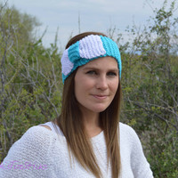 Hand knit bow ear warmer headband, Bow headband, knitted bow earwarmers, winter wrap, slip on, Cyan blue headband, white bow