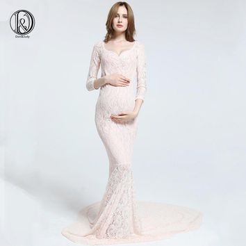 Stretch Lace Maternity Photography Dress Maxi long sleeves dress  Maternity Photo Dress Baby Shower gift