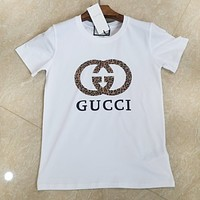 GUCCI Fashion New Bust Leopard Letter Print Women Men Top T-Shirt White