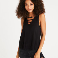 AEO Soft & Sexy Strappy Ring-Detail Tank, Black