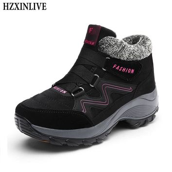 HZXINLIVE Winter Women Snow Boots Waterproof Warm Plush Platform Ankle Boots Ladies Hiking Sneakers Shoes Botas Mujer Invierno