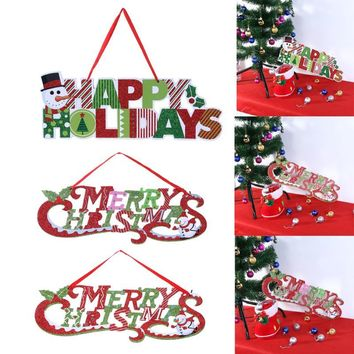 Christmas Decoration for Home Glitter Merry Christmas Letter Cards Christmas Tree Hanging Pendant Holiday New Year Party Decor