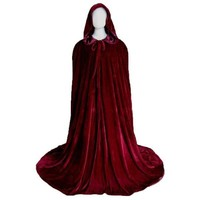 Medieval Halloween Fancy Dress Costume Adult Red Hooded Long Cloak Wedding Cape (Color: Red) [8403196615]