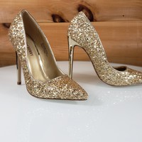 "Gold Glitter Pointy Toe Pump 4.5"" Stiletto High Heel Shoes"