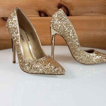 """Gold Glitter Pointy Toe Pump 4.5"""" Stiletto High Heel Shoes"""