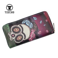 Zipper Wallet for Women With Phone PU Cartoon Skull Head Clutch Purses